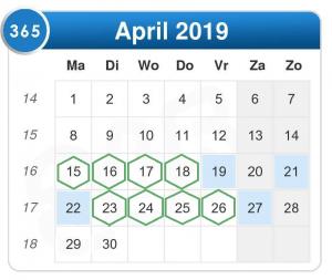 meeste vrije dagen 2019